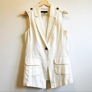 Jessica White Vest with front button